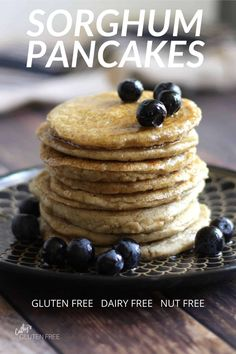 Try this simple recipe for light, fluffy, gluten free pancakes made with only sorghum flour. No other flours are needed! This recipe is also free from dairy and nuts.
