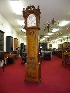 Stately Grandfather Clock. Early American Design. Sofa Dining Table, Console Table, Grandfather Clocks, Steel Mill, Old Furniture, Ottoman Bench, Early American, Desk Chair, End Tables