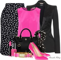 A fashion look from April 2013 featuring pink shirts, Alexander McQueen and pleated skirt. Browse and shop related looks. Stylish Work Outfits, Classy Outfits, Chic Outfits, Modest Fashion, Fashion Dresses, Church Fashion, Complete Outfits, Mode Inspiration, Mode Style