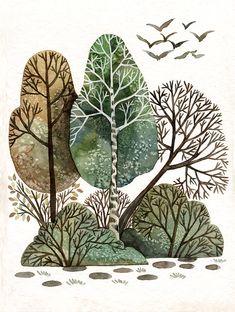 Plant Illustration, Landscape Illustration, Botanical Illustration, Watercolor Illustration, Watercolor Art, Forest Illustration, Forest Mural, Guache, Environment Concept Art