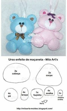Sewing Teddy Bear felt bear pattern, lovely as a brooch or hanging from a baby's tote bag Bear Felt, Felt Baby, Felt Patterns, Stuffed Toys Patterns, Baby Crafts, Felt Crafts, Felt Templates, Diy Bebe, Baby Mobile