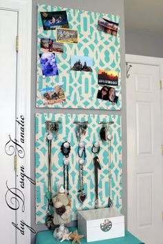 Totally trendy Cork Board and Jewelry Organizer made with #stencils!