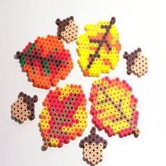 THANKSGIVING Decoration - Handmade Bead Leaves Bead Acorns - Perler Beads