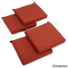Blazing Needles 20-inch All-weather Patio Chair Cushion (Set of 4) (Cinnamon (REO-S6)), Red (Fabric, Solid), Outdoor Cushion