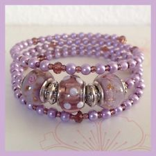 Memory Wire Bracelet with Glass Pearl and Murano Glass Beads 4mm purple color