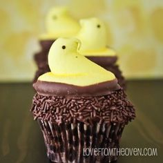 My niece and nephew are going to love these for Easter! Chocolate on top of more chocolate and peeps!
