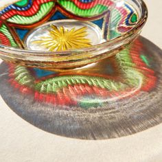 RichanaDragon. ||| Glass plate (bowl candle holder) with bright colorful geometrical pattern. Hand painted stained glass.