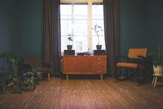 Old wood floor and dark walls