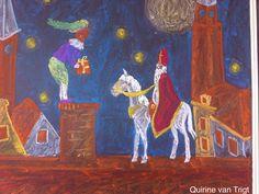 Sinterklaasje op het dak // bordtekening // klas 1 // eigen werk