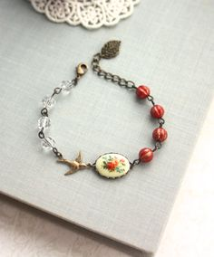 Vintage Floral Bouquet Bird Bracelet. Rustic Red Melon by Marolsha, $24.50