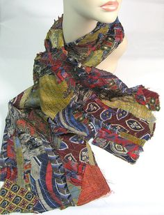 Silk scrap scarf, using washaway interfacing, this scarf is made with the stitched together pieces of perhaps a dozen or so vintage neckties.
