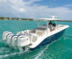 Hydra-Sports 42 Siesta with blue hull and quad outboards