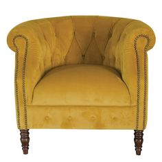 This vintage style HOUNSLOW chesterfield design chair in popular Mustard Velvet is a classic style with a modern twist. Antique Dining Chairs, Blue Dining Room Chairs, Vintage Chairs, Mustard Chair, Yellow Accent Chairs, Retro Armchair, Retro Living Rooms, Living Spaces, Chairs For Rent