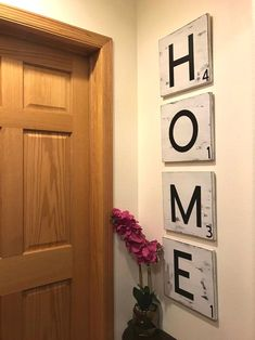 $77.90 · White chalk paint Distressed large HOME letters Set of 4 12 inch tiles 48 inches x 12,inches Solid wood Pine wood Large sawtooth hanger installed on back Can be hung vertical or horizontal Other colors available. If you would like a differ t color or colors, just message me when ordering or put it in the notes to seller when purchasing. #rustichouse #rusticideas