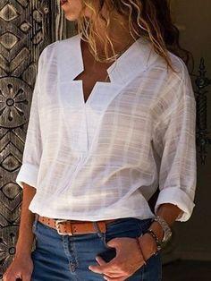 Women Shirt Casual Cotton Elegant V neck Long Sleeve Plus Size Blouse Blouse En Coton, Blouse Col V, V Neck Blouse, Linen Blouse, Denim Mantel, Tops Boho, Sexy Bluse, Winter Blouses, Maxi Robes
