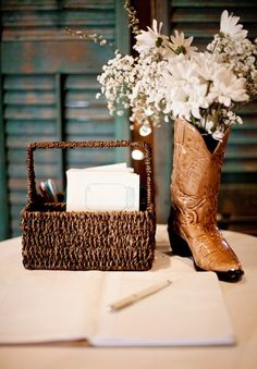 Cowboy Boot Vase - #CowgirlWedding #CountryWedding