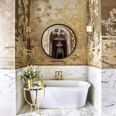 If you have a small bathroom in your home, don't be confuse to change to make it look larger. Not only small bathroom, but also the largest bathrooms have their problems and design flaws. Bathroom Spa, Bathroom Interior, Small Bathroom, Master Bathroom, Bathroom Ideas, Bathroom Renovations, Bathroom Marble, Gold Wallpaper Bathroom, Paint Bathroom