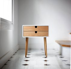 White nightstand / Bedside Table Scandinavian by Habitables