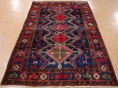 5 x 9 PERSIAN HAMEDAN Tribal Hand Knotted Wool NAVY RED PURPLE PINK Oriental Rug #PersianHamedanTribalGeometric