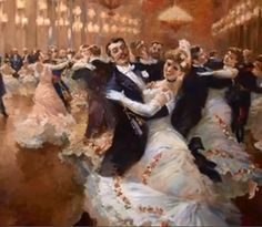 The Viennese Waltz. 2007 The Viennese Waltz by Vladimir Pervunensky, Viennese Waltz by Vladimir Pervunensky, 2007 Belle Epoque, Carl Spitzweg, Waltz Dance, Art Ancien, Illustration Art, Illustrations, Shall We Dance, Learn To Dance, Ballroom Dancing