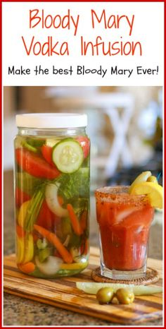 Are you serious about your Bloody Mary? This Bloody Mary Vodka Infusion is made with a variety of flavorful fresh vegetables and herbs. Mix it in with your favorite Bloody Mary Mix and you have THE BEST BLOODY MARY E Cocktail Drinks, Fun Drinks, Yummy Drinks, Cocktail Recipes, Alcoholic Drinks, Beverages, Mixed Drinks, Vodka Cocktails, Vodka Martini
