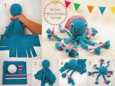 Une pieuvre en tissu molleton (en anglais + photo) - 40 Homemade No-Sew DIY Baby and Toddler Gifts - DIY for Life Fleece Crafts, Fleece Projects, Sewing Projects, Craft Projects, Sock Crafts, Operation Christmas Child, Kids Crafts, Baby Crafts, Octopus Crafts