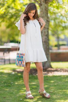 Boho Living Dress, White - The Mint Julep Boutique