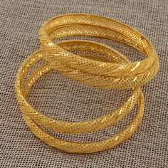 4 Pieces/Lot Gold Color Bangle for Women Bride Wedding Bracelet Jewelry - mybestanimal Gold Chain Design, Gold Ring Designs, Gold Bangles Design, Gold Earrings Designs, Gold Jewellery Design, Gold Jewelry, Bridal Jewellery, Designer Jewelry, Crystal Jewelry