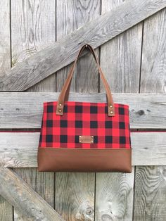 Your place to buy and sell all things handmade Cute Handbags, Purses And Handbags, Plaid Purse, Plaid And Leather, Fall Bags, Buffalo Plaid, Leather Handle, Laptop Bag, Tote Purse