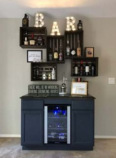 65 Best and Cool Home Bar Design Confused to make a bar room? On the topic of design for our favorite home is to discuss the design of the bar room that will be in our home. You are in the right place about furniture shop vintage Here we offer you the … Diy Home Bar, Home Bar Decor, Diy Bar, In Home Bar Ideas, Home Wine Bar, Small Apartment Living, Small Apartment Decorating, Apartment Bar, Man Cave Apartment Ideas