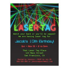 Neon Words Laser Tag Birthday Party Invitations