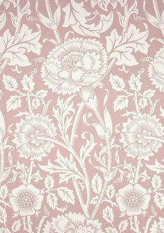 William Morris, Pink and Rose wallpaper. Block-printed paper (c.1890)
