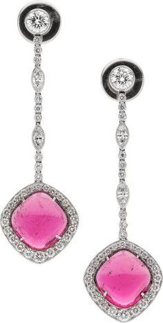 Tourmaline, Diamond, Platinum Earrings.