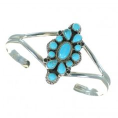 Genuine Sterling Silver Turquoise Cuff Bracelet Jewelry VX64841-0