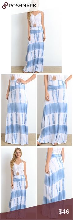 Arriving 4/21 Tie Dye Maxi Skirt Relaxing stylish tie dye long skirt.  Pair with a tee.  Fabric Content: 96% Rayon 4% Spandex Skirts Maxi