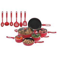 Chefs Secret 16Piece Red Aluminum Pots and Pans Set *** Find out @