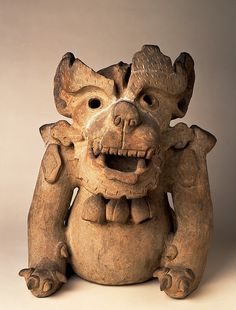 Pottery urn depicting a bat god. Date and culture unspecified   Birmingham Museum and Art Gallery