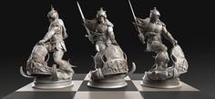 BOOK OF SCULPTS The - Frazetta Chess Set -  Commission for Heads or Tales Coin Co. Caleb Nefzen, ZBrush