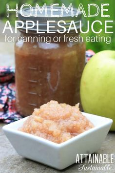 This homemade applesauce recipe doesn't require any measuring at all. I've been making it like this since I was a child and it's still a winner. If you're used to picking up a jar of applesauce at the supermarket, you're going to be pleasantly surprised. Fruit Recipes, Apple Recipes, Real Food Recipes, Healthy Recipes, Healthy Treats, Healthy Eating, Canning Applesauce, Homemade Applesauce, Fermented Foods