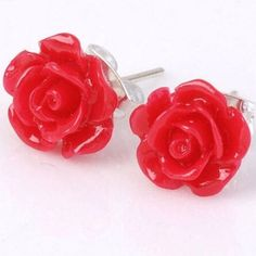 Red Rose Stud Earrings Red rose stud earrings. Brand new, never worn comes with earring backings. Jewelry Earrings