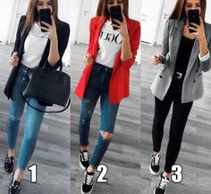 Blazer Outfits Casual, Blazer Fashion, Cute Casual Outfits, Stylish Outfits, Fashion Outfits, Red Blazer Outfit, Semi Casual Outfit Women, Casual Work Outfit Winter, Semi Formal Outfits For Women