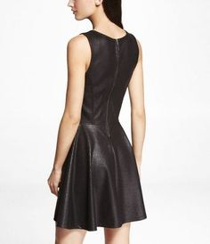 CRACKLE COATED PONTE SKATER DRESS at Express