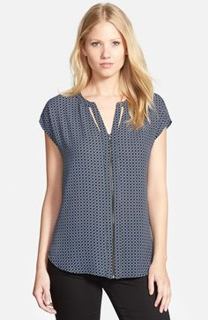 Pleione Cutout Detail Print Zip Front Top available at #Nordstrom