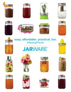 Calling all Mason jar lovers! Jarware is a fresh new brand, designed in-house, for re-purposing your iconic Mason or Ball jars. Kilner Jars, Ball Mason Jars, Mason Jar Lids, Canning Jars, Mason Jar Kitchen, Mason Jar Projects, Mason Jar Crafts, Cool Kitchen Gadgets, Cool Kitchens