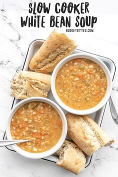 This Slow Cooker White Bean Soup practically makes itself! Just throw everything into the pot and press go for a thick, flavorful, and filling vegan soup. Slow Cooker Beans, Vegan Slow Cooker, Slow Cooker Recipes, Cooking Recipes, Crockpot Recipes, Slow Cooker Soup Vegetarian, Crockpot Dishes, Barbecue Recipes, Easy Cooking