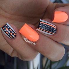 Image via Neon orange nail art design Image via stiletto nails! Orange Nail Art, Neon Orange Nails, Orange Nail Designs, Best Nail Art Designs, Neon Nails, Love Nails, Tribal Nails, Orange Color, Fabulous Nails