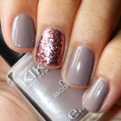 Glitter and Nails: Accent Nail in rose glitter goes perfectly with this taupe polish #minimal...x