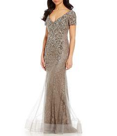 20fbf1ce027182 MGNY Madeline Gardner New York Beaded Lace Mermaid Gown
