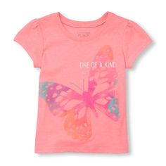 Toddler Girls Short Sleeve 'One Of A Kind' Butterfly Glitter Graphic Tee