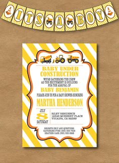 Under Construction Baby Shower Invitation and Banner Set!!